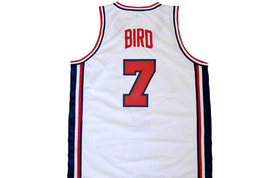 Larry Bird #7 Team USA Men Basketball Jersey White Any Size image 2