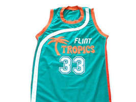 Jackie Moon #33 Flint Tropics Semi Pro Basketball Jersey Teal Green Any Size image 1