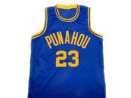 Barack Obama #23 Punahou High School Basketball Jersey Blue Any Size image 1