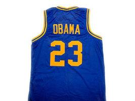 Barack Obama #23 Punahou High School Basketball Jersey Blue Any Size image 2