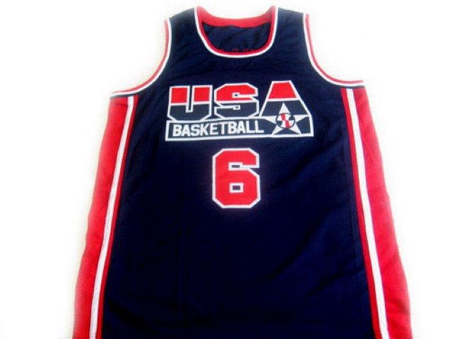 Patrick Ewing #6 Team Usa Basketball Jersey Navy Blue Any Size