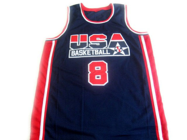 Scottie Pippen #8 Team USA Basketball Jersey Navy Blue Any Size