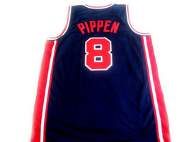 Scottie Pippen #8 Team USA Basketball Jersey Navy Blue Any Size image 2