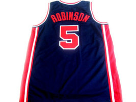 David Robinson #5 Team USA Basketball Jersey Navy Blue Any Size image 2