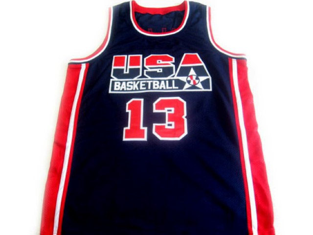 Chris Mullin #13 Team USA BasketBall Jersey Navy Blue Any Size