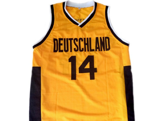 Dirk Nowitzki #14 Team Deutschland Germany Basketball Jersey Yellow Any Size