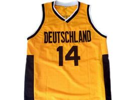Dirk Nowitzki #14 Team Deutschland Germany Basketball Jersey Yellow Any Size image 1