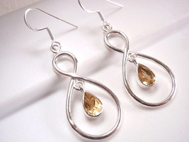 Faceted Citrine Dangle Earrings Sterling Silver Infinity Hoop Everlastin... - $17.44