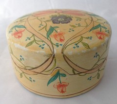Vintage Hand Painted Wooden Covered Dresser Dish Powder Box Notched Lid ... - $18.95