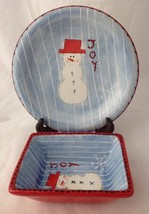 Atico Snowman Joy Cookie Plate and Rectangular Serving Bowl for Christma... - $19.95
