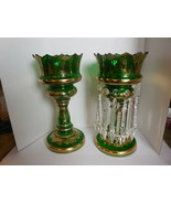Czech Bohemian Green w/Gold trim Mantle Candle Holders Crystal Priisms 1... - $986.03