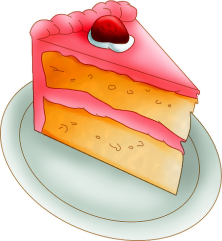 Cake Art Coupon : Pink Strawberry Cake Digital Graphic Clip Art Scrapbooking ...