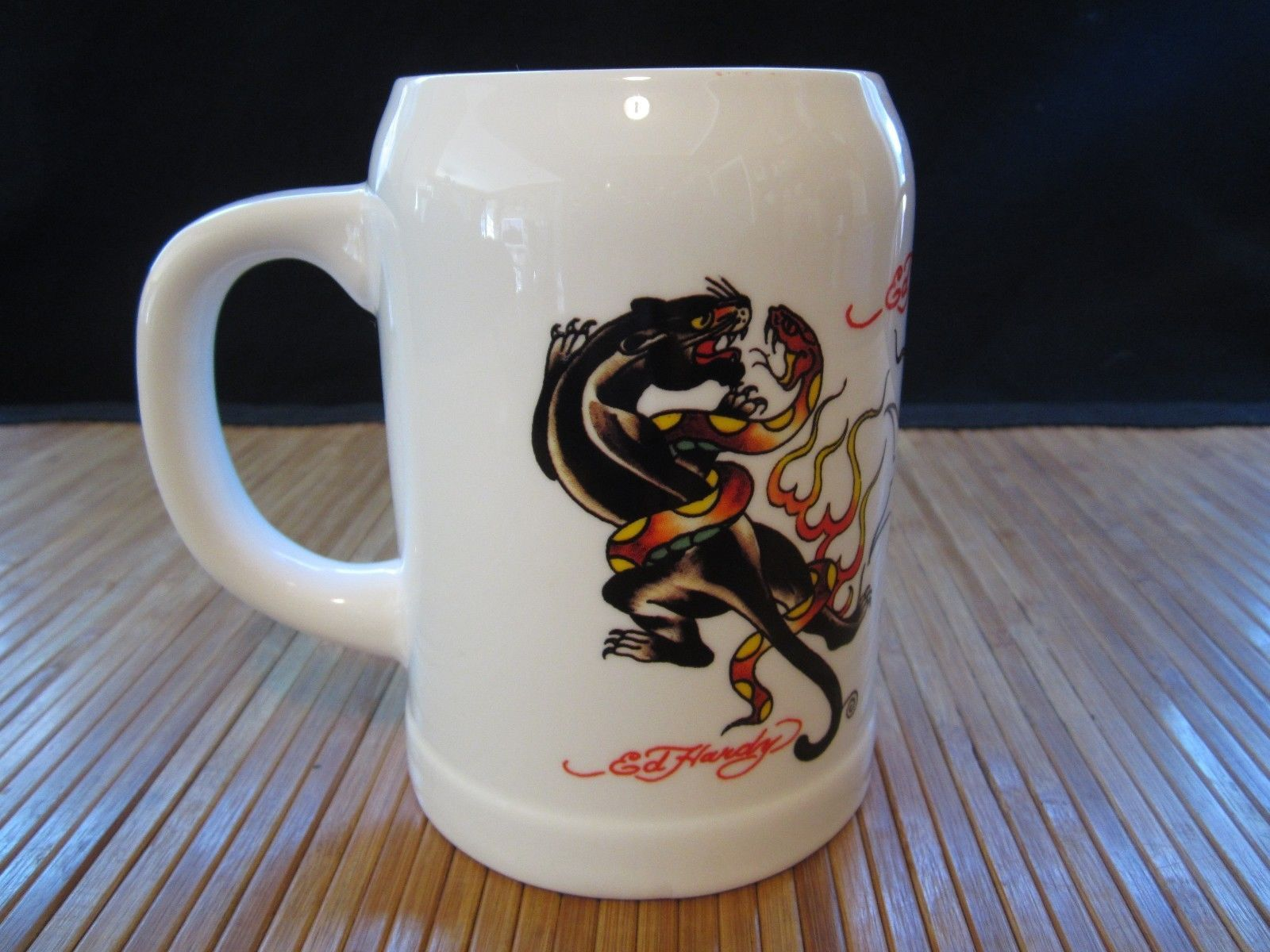 ed hardy brew beer stein coffee mug tea cup black panther snakes tattoo art other. Black Bedroom Furniture Sets. Home Design Ideas