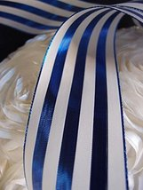 """AK-Trading 2.5"""" x 25 Yards Metallic Striped Gift Wrap & Craft Ribbon - Blue & Iv - $18.76"""