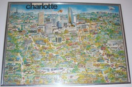 "Tom Dodds 1975 ""Charlotte"" Carolina's Queen City litho cartoon poster ar... - $483.18"