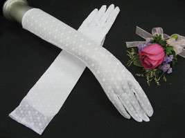 "15"" NYLON FLORAL ELBOW BRIDAL GLOVES ,ELEGANCE WEDDING WOMAN ACCESSORIES... - $8.50"