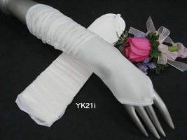 "12"" ELBOW IVORY PLEAT BRIDAL GLOVES ,SHEER ORGANZA WEDDING WOMAN ACCESSO... - $7.50"
