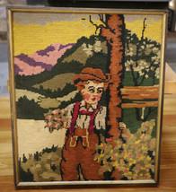 Vtg German Bavarian Lederhosen Boy Hand Cross Stitched Wool Crewel Embro... - $27.99