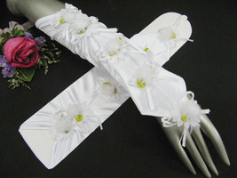 """10.5"""" SATIN FINGERLESS FLORAL WHITE BRIDAL GLOVES ,WEDDING WOMAN ACCESSO... - $10.50"""