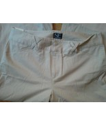 New Frontier Khaki Beige Capri Pants Sz 8 Stone Stretch Spandex Hook Zip... - $18.99