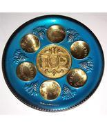 Tranditional Blue Enamel Brass Judaica Seder Serving Plate Hebrew Made i... - $103.89
