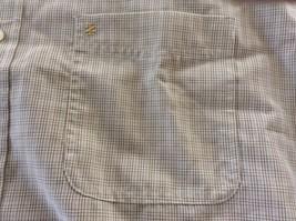 Men Button Front Shirt Izod Short Sleeve Plaid White, Beige L Rayon/Poly... - $14.00
