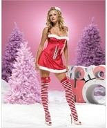 Christmas Dress Red Velvet Ms Santa Mini Dress with Faux Fur Trim - $39.99