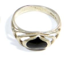 Early .925 Sterling Silver with Black Stone Heart Ring - $19.95