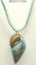 Light Blue Brass Gold Glitter  Shell Pendant Necklace Faux Suede Cord - $10.99