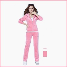 Soft Velour Velvet Jogging Bright Track Sweat Suit Lounger Hoodie & Pants Sets
