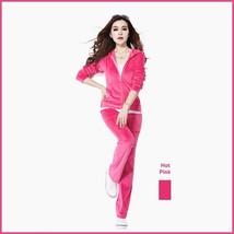 Soft Velour Velvet Jogging Bright Track Sweat Suit Lounger Hoodie & Pants Sets  image 2