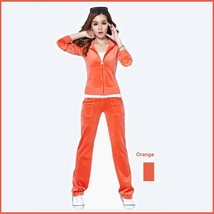 Soft Velour Velvet Jogging Bright Track Sweat Suit Lounger Hoodie & Pants Sets  image 4