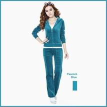 Soft Velour Velvet Jogging Bright Track Sweat Suit Lounger Hoodie & Pants Sets  image 10