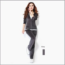 Soft Velour Velvet Jogging Bright Track Sweat Suit Lounger Hoodie & Pants Sets  image 12