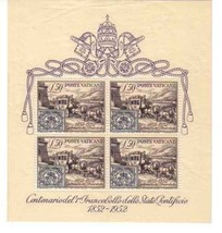 VATICAN 1952 155A NH STAMP ON STAMP SHEET HORSES STAGECOACH 14967 - $84.15