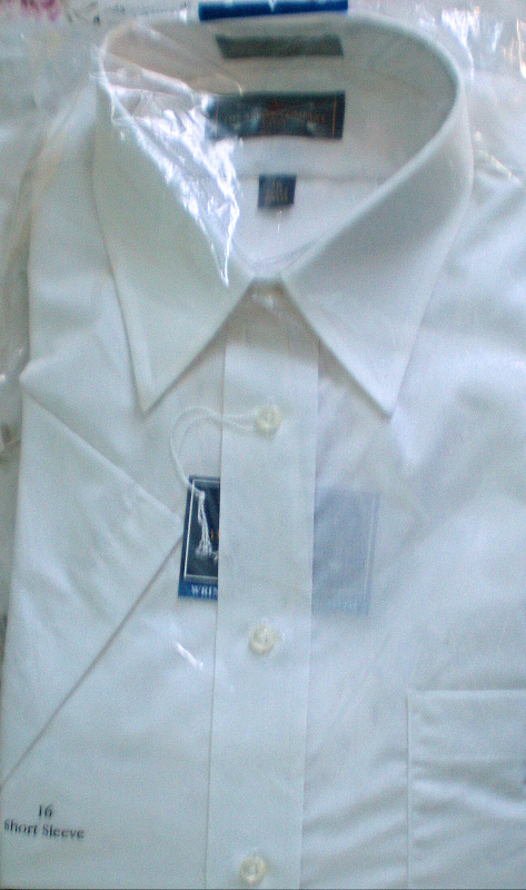 Primary image for Men's Dress Shirt - Short Sleeve Dress Shirt By Arrow -Color White Size 16