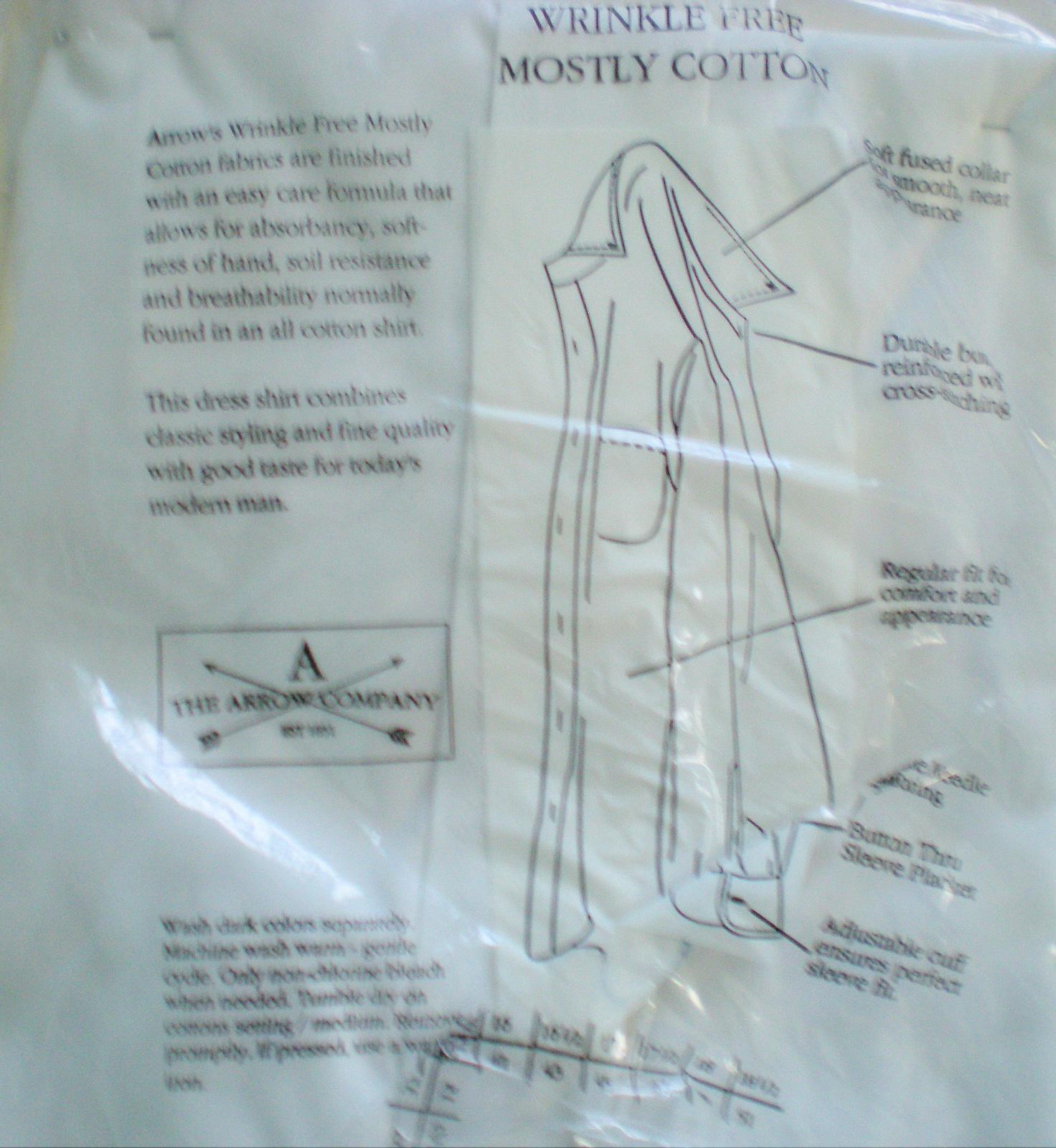 Men's Dress Shirt - Short Sleeve Dress Shirt By Arrow -Color White Size 16