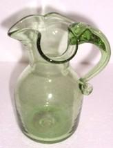 VASELINE COLOR DEPRESSION HANDBLOWN GLASS JUG PITCHER - $64.89