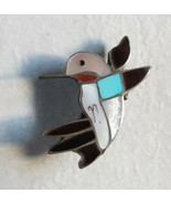 Zuni Indian Inlay brooch pin-Pendant Hummingbird Multistone Sterling Sil... - $108.89