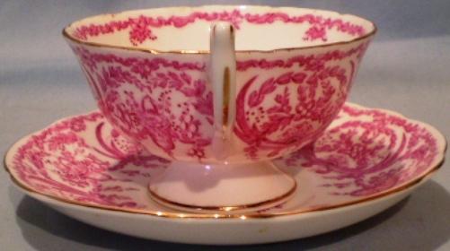 Coalport Cup & Saucer Pink on White Motif