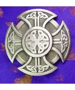 Maltese Biker Cross Buckle Vintage 4550 Fine Pewter Men's Belt Accsseory - $55.00