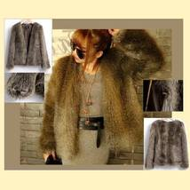 European Fashion Luxury Thick Tipped Gray Fox Long Hair Faux Fur Coat Jacket