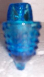 VINTAGE FENTON TURQUOISE HOBNAIL MINIATURE GLASS SHOE