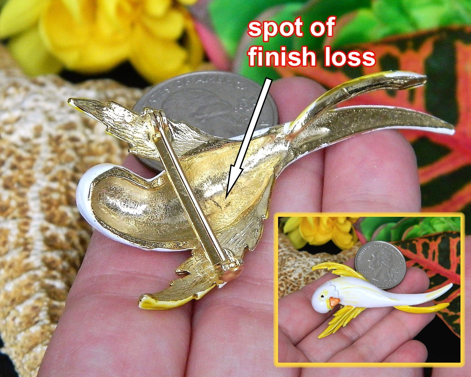 Vintage Parakeet Budgie Parrot Bird Brooch Pin Enamel Yellow White