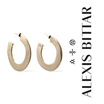 Alexis Bittar Mirror Hoop Earrings Gold Floor Model - $82.79