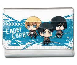 Attack on Titan SD Armin, Eren & Mikasa Cadet Corps Girl's Style Wallet GE61978  - $19.99