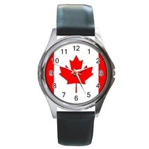 Canada Flag Round Leather Band Watch Canadian - $9.39