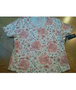 Ladies Karen Scott Sport Shirt Top White Flower Cotton Size M Lycra Stre... - $14.14