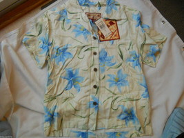 Ladies Caribbean Joe Shirt Blouse Blue flowers Island Breeze Guache Lily... - $16.14