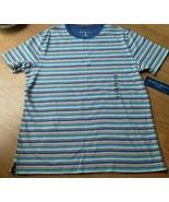 Ladies Karen Scott Sport Shirt Top bl beige Stripe Cotton Sz PM Scoop Ne... - $14.24